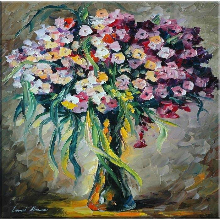Arte P1133 Yağlıboya Vazoda Çiçekler Kanvas Tablo - 30x30 cm