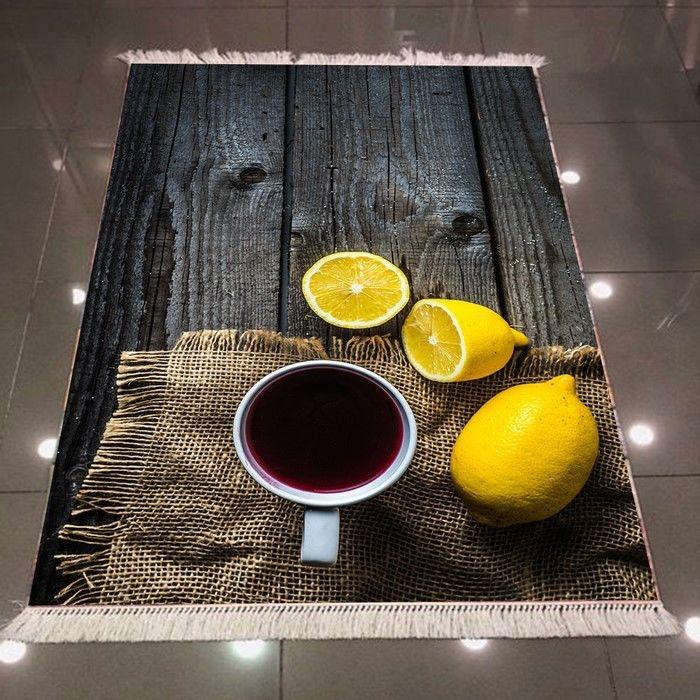 Resim  Else 3D Limon Çaylı Dokuma Şönil Halı - 80x300 cm