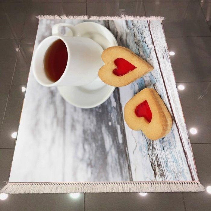 Resim  Else 3D Çay Kurabiyeler Dokuma Şönil Halı - 80x150 cm