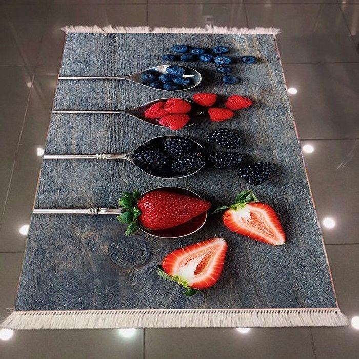 Resim  Else 3D Kaşık Meyveli Dokuma Şönil Halı - 80x150 cm