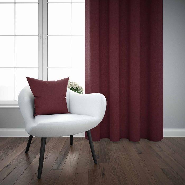 Resim  Else Bordo Düz Renk Dekoratif Modern Fon Perde Kırlent Hediyeli -150Cmx270Cm