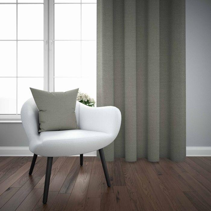 Resim  Else Gri Düz Renk Dekoratif Modern Fon Perde Kırlent Hediyeli -150Cmx270Cm