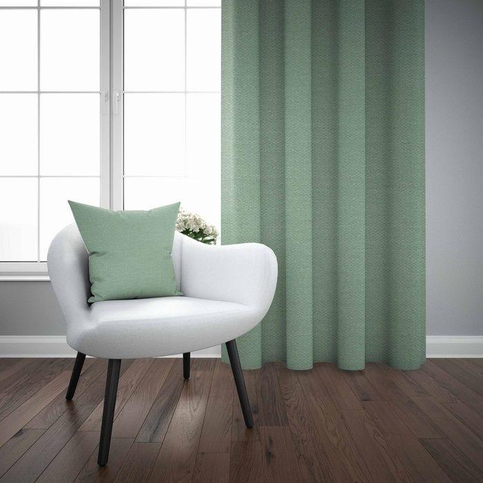 Resim  Else Mint Yeşili Düz Renk Dekoratif Modern Fon Perde Kırlent Hediyeli -150Cmx270Cm