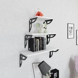 Decormet Maske 3'lü Duvar Rafı Seti - Siyah/Beyaz