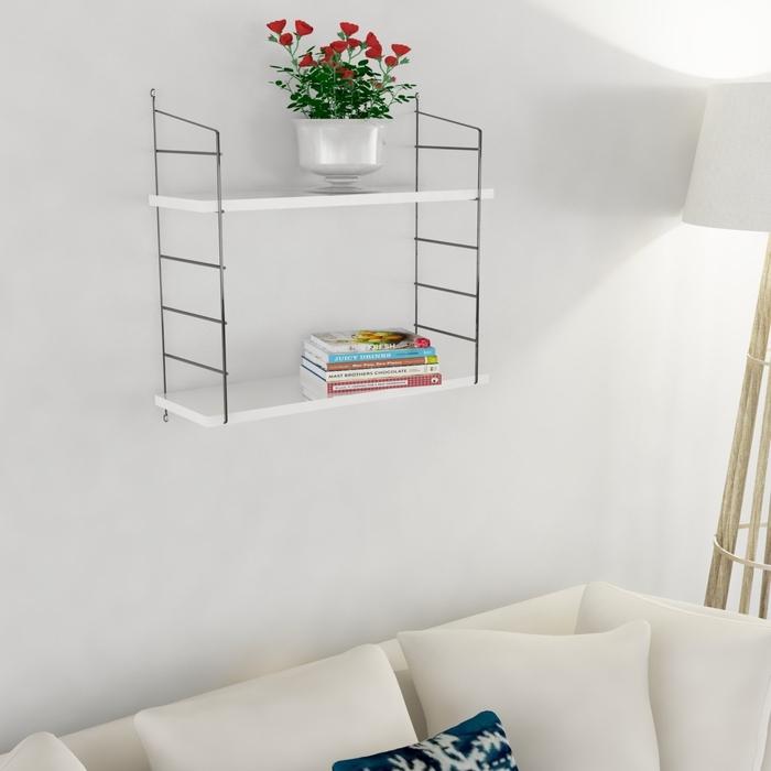 Decormet Armoni 2 Raflı Duvar Rafı Seti - Beyaz