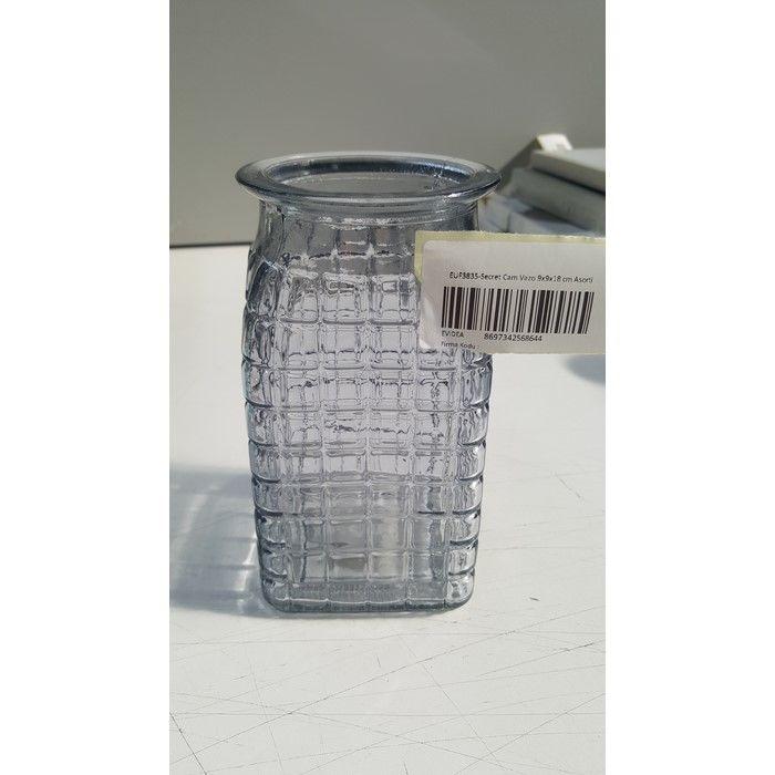 EuroFlora 9x9x18cm Cam Vazo - Gri
