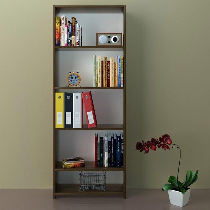 Resim  Eyibil Mobilya Linda 5 Raflı Kitaplık - Ceviz