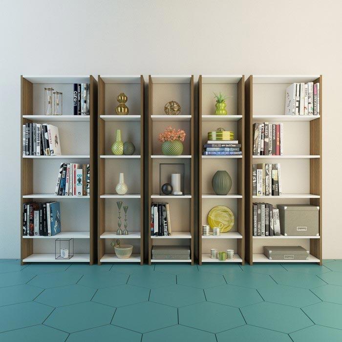 Resim  Eyibil Mobilya Kuzey 5'li Modern Kitaplık - Ceviz - Beyaz