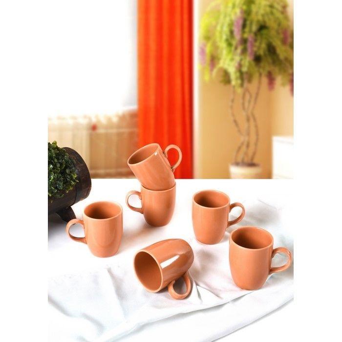 Keramika 6'lı Bulut Turuncu Cam Göbeği Kupa - 9 cm