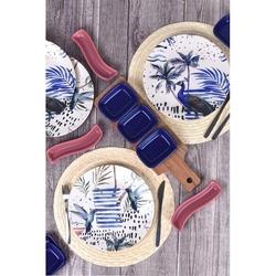 Keramika 4 Kişilik 14 Parça Kahvaltı Seti - Mavi Tavus
