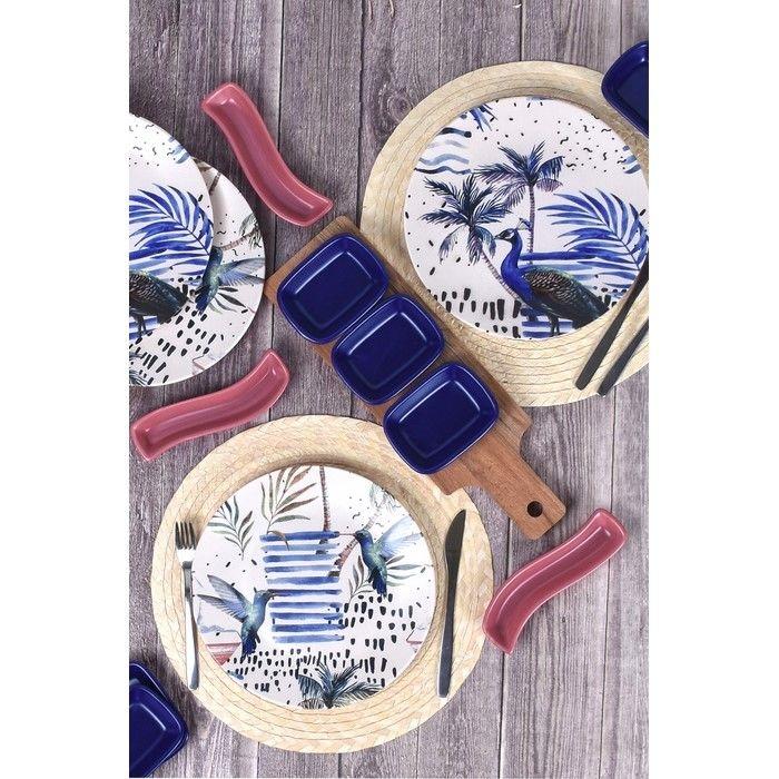 Resim  Keramika 4 Kişilik 14 Parça Kahvaltı Seti - Mavi Tavus