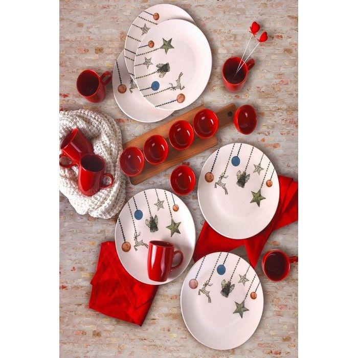 Keramika 19 Parça 6 Kişilik Yılbaşı Seti - Yıldız