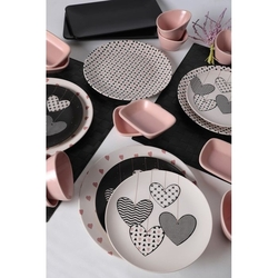 Keramika 22 Parça 4 Kişilik Kahvaltı Takımı - Kalp Yağmuru