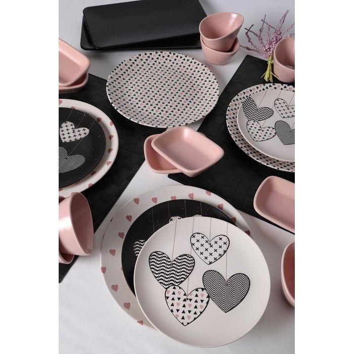 Resim  Keramika 22 Parça 4 Kişilik Kahvaltı Takımı - Kalp Yağmuru