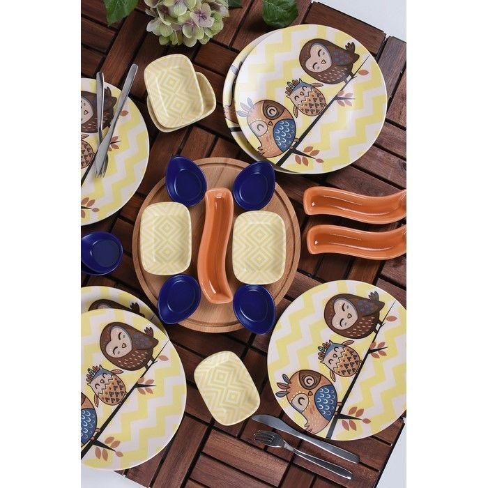 Keramika 6 Kişilik 22 Parça Çeyiz Seti - Baykuş