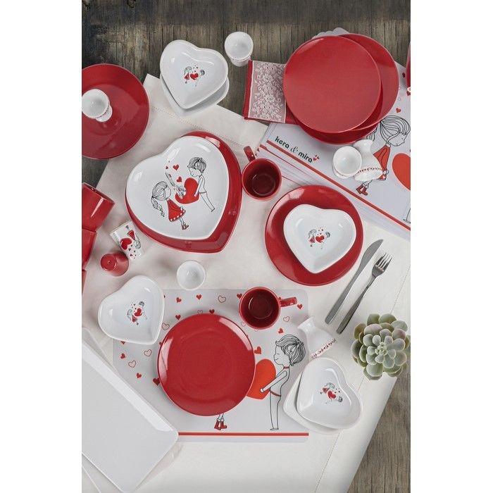 Resim  Keramika 35 Parça 6 Kişilik Kahvaltı Takımı - Dolu Kalp