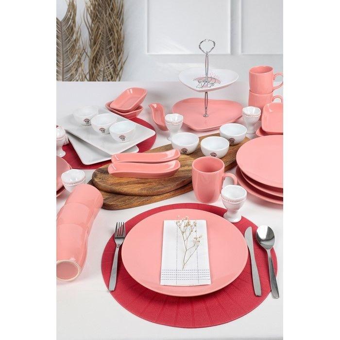 Keramika 36 Parça 6 Kişilik Kahvaltı Takımı - Pink Love