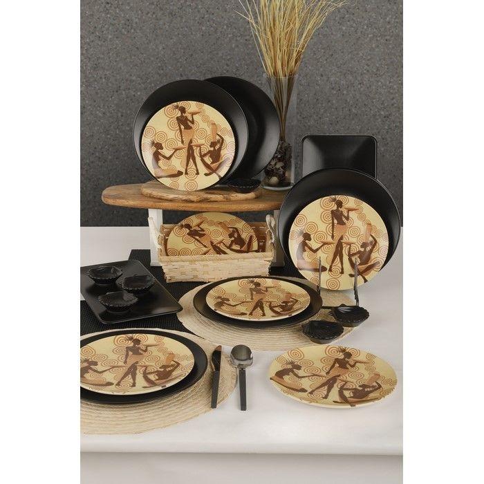 Keramika 20 Parça 6 Kişilik Kahvaltı Seti - Afrikalı Kadınlar Vanuatu
