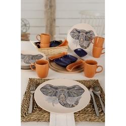 Keramika 22 Parça 6 Kişilik Kahvaltı Takımı - Renkli Fil