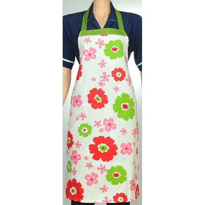 Resim  Aliz Çiçekli Mutfak Önlüğü - Kırmızı