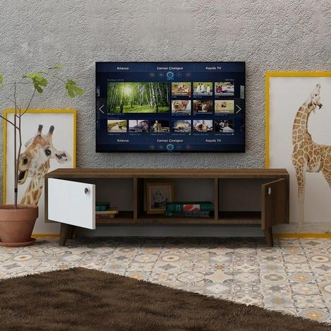 Resim  Fly Mobilya 2 Kapaklı Orta Raflı Tv Ünitesi - Kafkas Meşe / Beyaz