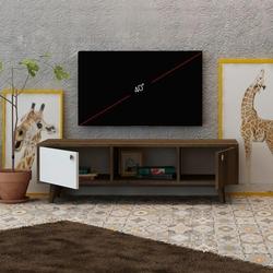 Fly Mobilya 2 Kapaklı Orta Raflı Tv Ünitesi - Kafkas Meşe / Beyaz