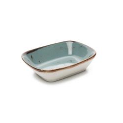 Tulu Porselen Kare Kayık Tabak - Turkuaz / 12 cm