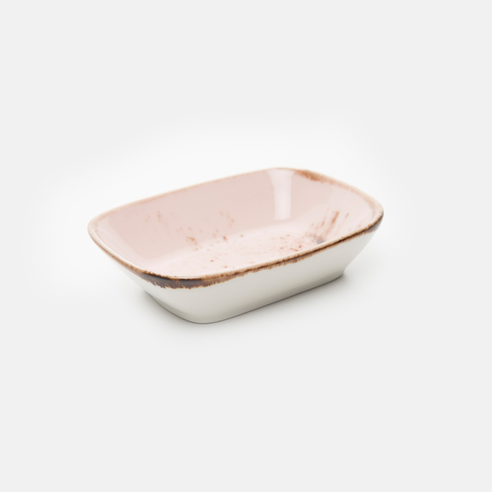 Resim  Tulû Porselen Kare Kayık Tabak - Pembe / 12 cm