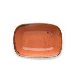 Tulu Porselen Kare Kayık Tabak - Turuncu / 12 cm
