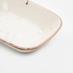 Tulû Porselen Kare Kayık Tabak- Reactive / 17 cm