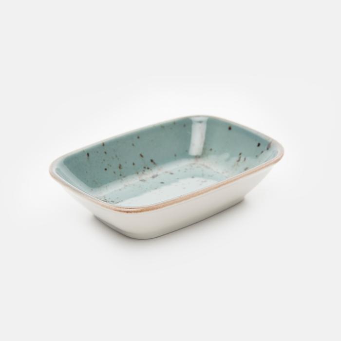 Resim  Tulû Porselen Kare Kayık Tabak - Mavi / 14 cm