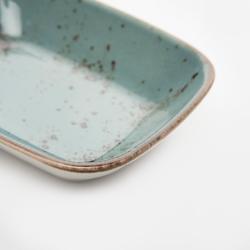 Tulû Porselen Kare Kayık Tabak - Mavi / 14 cm