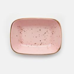 Tulû Porselen Kare Kayık Tabak - Pembe / 14 cm