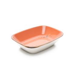 Tulu Porselen Kare Kayık Tabak - Turuncu / 14 cm