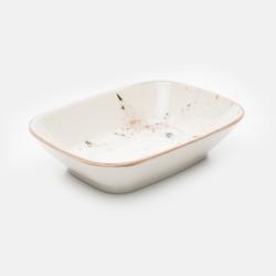 Tulu Porselen Kare Kayık Tabak - Reactive Krem / 17 cm
