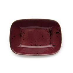 Tulu Porselen Kare Kayık Tabak - Mürdüm / 17 cm