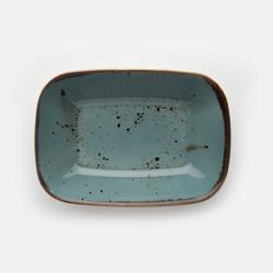 Tulu Porselen Kare Kayık Tabak - Turkuaz / 17 cm