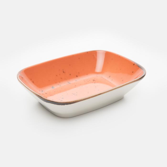 Resim  Tulu Porselen Kare Kayık Tabak - Turuncu / 17 cm