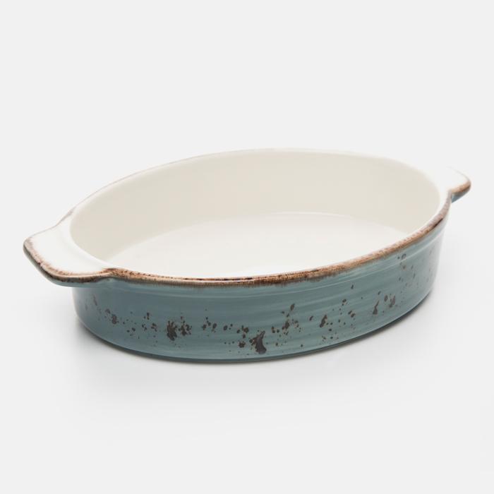Resim  Tulû Porselen Oval Fırın Kabı - Turkuaz / 21 cm