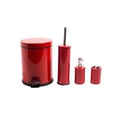 Dibanyo 4'lü Banyo Seti - Kırmızı