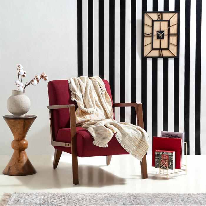 Linnea Stripe Jakarlı Throw Battaniye (Sarı) - 130x170 cm