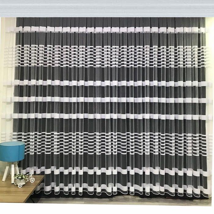 Brillant Beyaz Zebra Tül Perde 1/3 Pile 380x190 cm