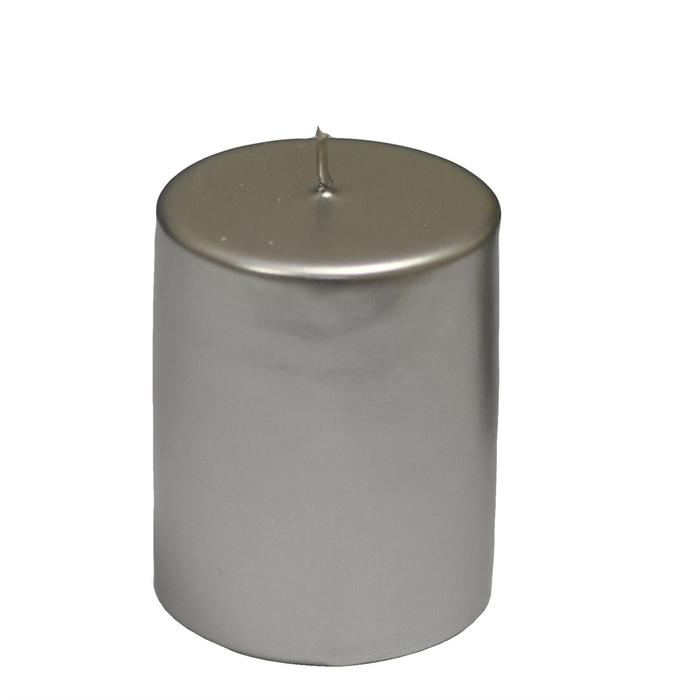 Resim  Horizon Varaklı Silindir Mum (Gümüş) - 6x6 cm