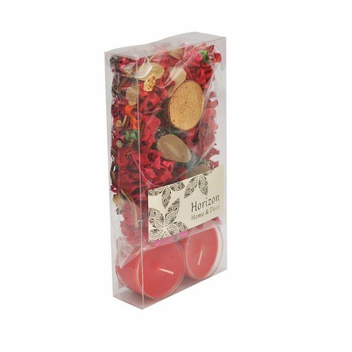 Resim  Horizon PVC Mum + Çiçek Seti - Kırmızı