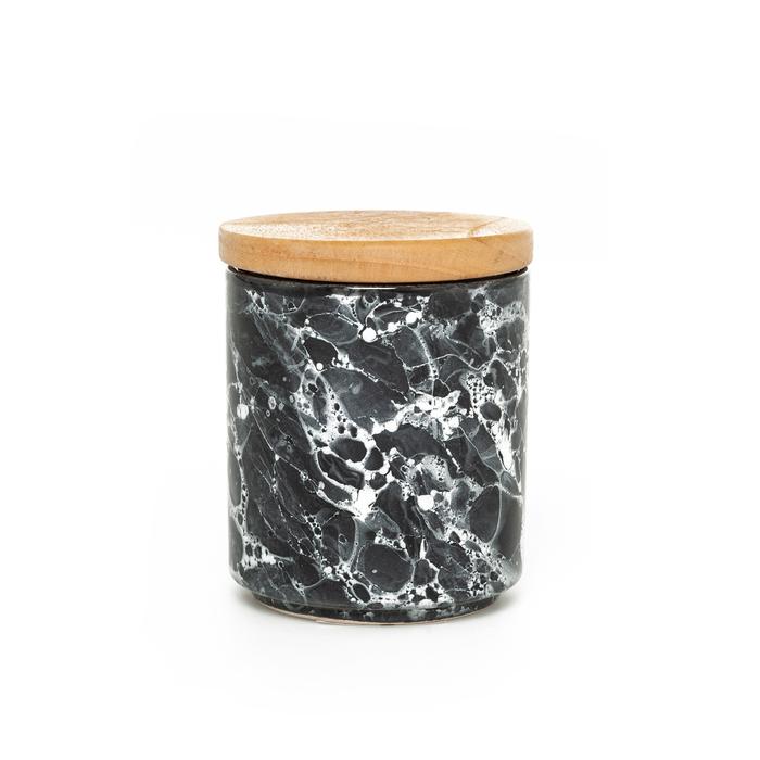 İpek Ahşap Kapaklı Kavanoz - Granit / 10 cm