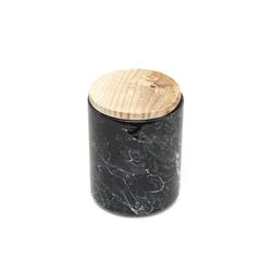 İpek Ahşap Kapaklı Kavanoz - Granit / 13 cm