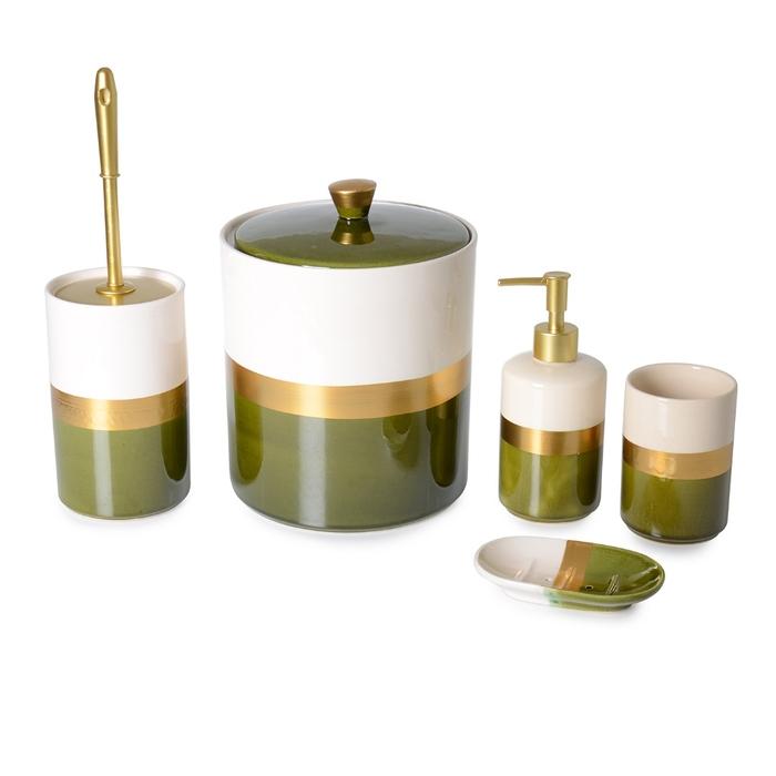 Resim  İpek Altın Yaldızlı Seramik 5'li Banyo Seti