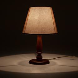 Safir Light Ahşap Abajur Ceviz Ayak - Sütlü Kahverengi Şapka