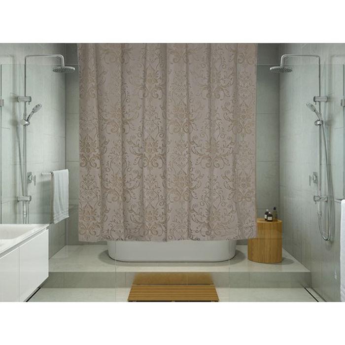 Resim  Melodie 9027 Tek Kanat Duş Perdesi (Açık Kahverengi) - 180x180 cm
