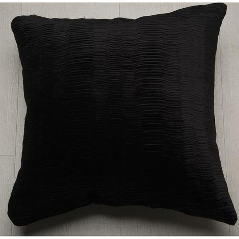 Melodie 7065 Piliseli Kadife Kırlent Kılıfı (Siyah) - 40x40 cm